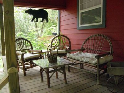 Front Porch - great for sitting outside - even in the rain.
