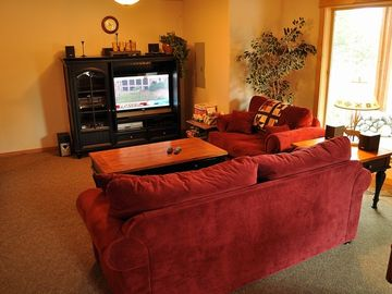 Couch Area in Rec Room - Couches, Flatscreen TV, Cable/DVD in the downstairs Rec Room.