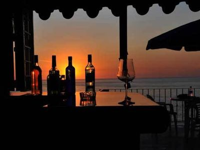 Puerto Vallarta house rental - sunset looking out form the bar