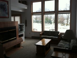 Big Boulder townhome photo - Family Room with snowy back field