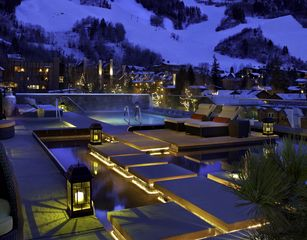Aspen condo photo - Rooftop swimming pool and water garden, featuring 2 state-of-the-art hottubs