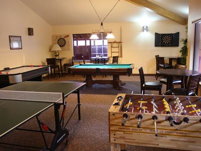 The game room in the clubhouse has Ping-Pong, Foosball, Air Hockey, and Pool.