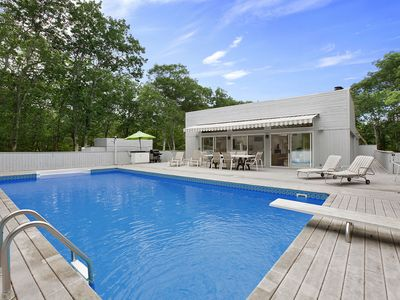 Amagansett house rental - heated pool with diving board - optional fence available for renters w/children
