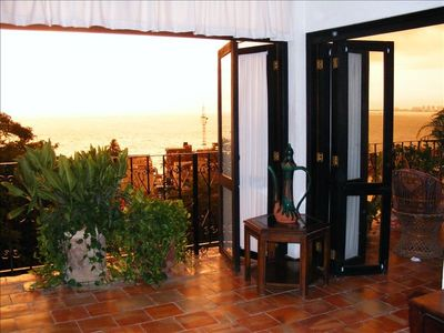 sunset from balconies - living room view