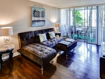 Downtown Scottsdale condo rental - The sofa unfolds to sleep 2 guests.