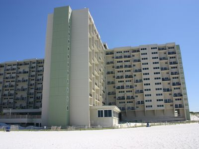 A view of our building at Pinnacle Port from the beach below