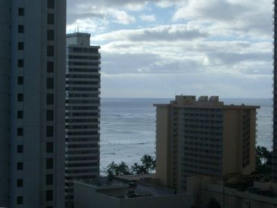 Honolulu condo rental - ocean view from your living room & bedroom-watch the surfers