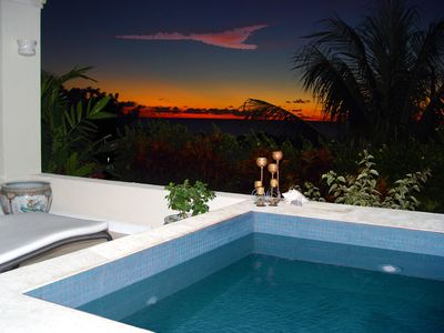 Enjoy a romantic sunset on the dip pool deck