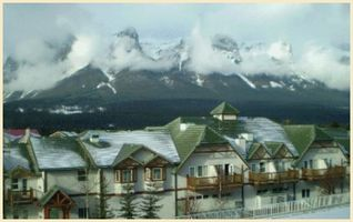 Canmore condo photo - View of the Lodge with the 3 Sister Mountains