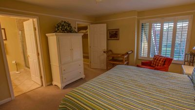 Upstairs Master King Bed Plantation Shutters Cieling Fan Overlooking Lake