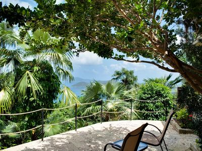 Cinnamon Bay villa rental - Lower West Bedroom deck with views to Sandy Key over Cinnamon Bay