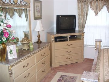 With TV DVD Player CD Player lo Ceiling Fan Over Looks Garden Area Walk In Close