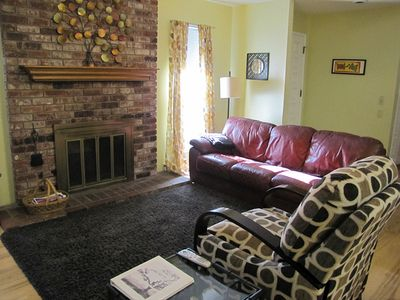 Living room with seating for four