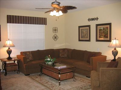 "Comfortable and elegant living room with 50"" plasma TV"