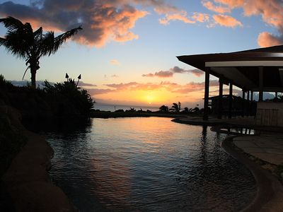 Lahaina villa rental - Sunset from corner of property by master bedroom