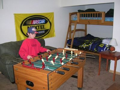 Game Room with Playstation 2, Electronic Darts, Foosball, and a pool table!