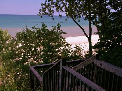 Lakeside cottage rental - Stairway to Pier Street Beach which is deep and wide for sunning and swimming.