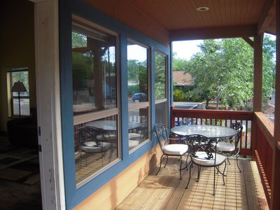 Enjoy breakfast or evening cocktails on the accomodating front porch