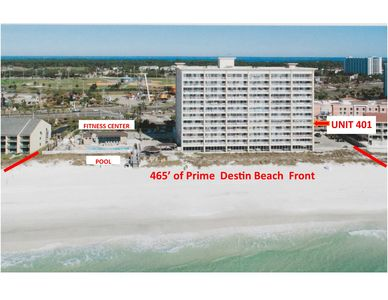 Destin Gulfgate condo: 465'  Prime Destin Beach Front with Unit 401 pointed out