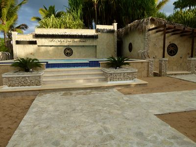 Puerto Plata condo rental - rinse off in the waterfall & whirlpool