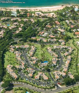 Aerial view of Palms at Wailea. Our condo is in the lower left #500 building