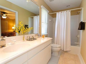 Bathroom upstairs is full-size & adequately accommodates both bedrooms!