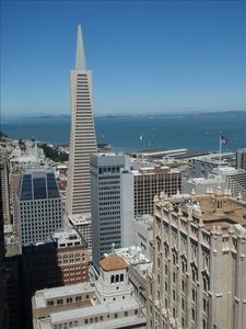 San Francisco apartment rental - Living room view of Trans America Building and Bay