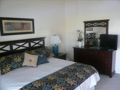Master bedroom suite includes King size bed, lake view, LCD TV and master bath.
