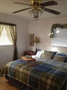 Master bedroom has a king size bed beautifully decorated and a big size closet.