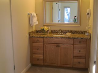 Glen Arbor condo photo - Bathroom dressing areas in both bathrooms with hair dryer