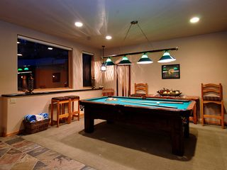 Four O'Clock Breckenridge house photo - Milano Meadows - Billiards table on lower level, door to access private outdoor hot tub