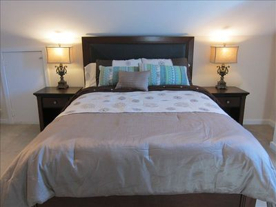 Pillow top mattresses with plush linens in each bedroom.
