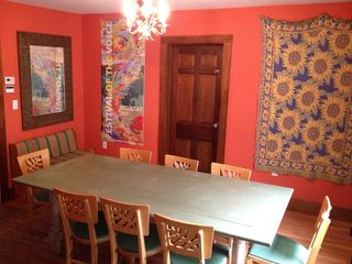 Phoenicia house photo - Dining room with rustic table, seats 8