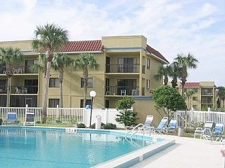 Condo (2nd floor right) as seen from heated pool