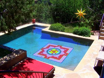 Sedona house rental - View of pool from patio and barbeque area