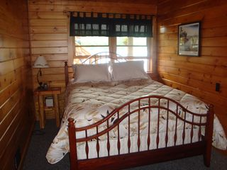 Lunenburg cabin photo - Bedroom on lower level - Queen size bed.