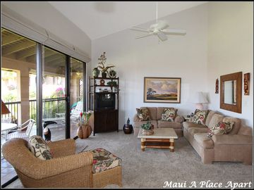 Living Room from unit 47E Ekahi Village, One Bed-Two Bath, Garden View