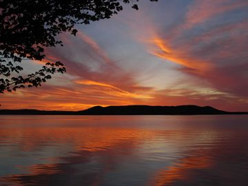 Glen Lake cabin rental - beautiful sunsets from our beach.
