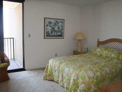 Master Bedroom with queen sized bed and ocean view. You can hear &see the waves!