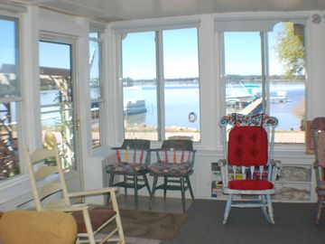 Sun room looking southwest out to lake