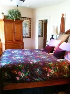 Santa Cruz house rental - Master bedroom has Ralph Lauren linens and view of the Cowell's Beach.