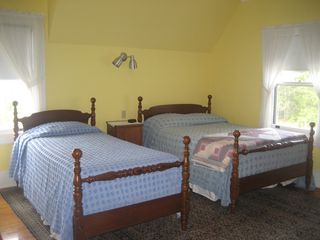Seal Harbor house photo - Queen and Single beds, ocean view, adjoining Master Bath 2 with private bath and