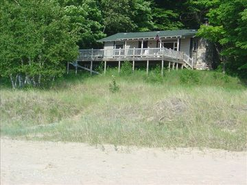 View of cabin from beach
