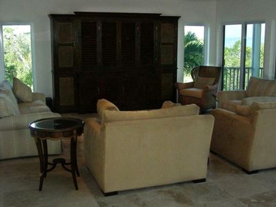 Family Room with Dark Teak Entertainment Center