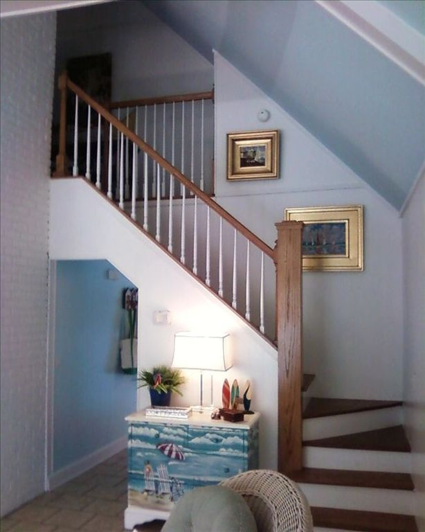 Going upstairs to reading loft and Captain's Quarters