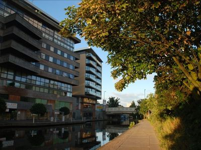 City of London Financial District apartment rental - View of Apartment Building From The Canal Towpath