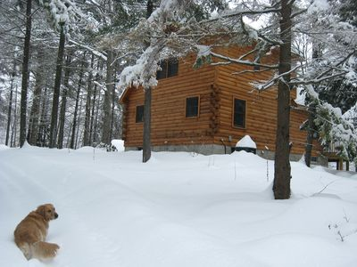 Winter at the Schroon Lake Log cabin