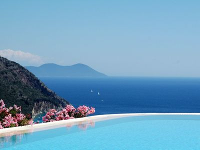 Mikros Gialos villa rental - Swimming pool overlooking the bay