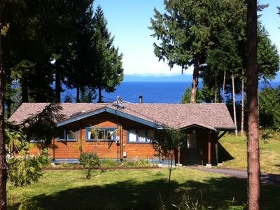 Qualicum Beach cabin rental - Cedar Log Cabin sits 100ft above the ocean with Commanding Views