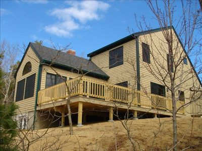 Brand new house with large back deck, grille, picnic table, ample seating